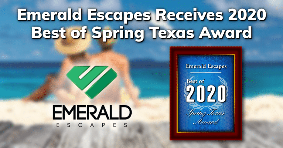 Emerald Escapes Receives the 2020 Best of Spring Texas Award